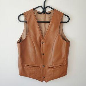 Vintage brown leather vest